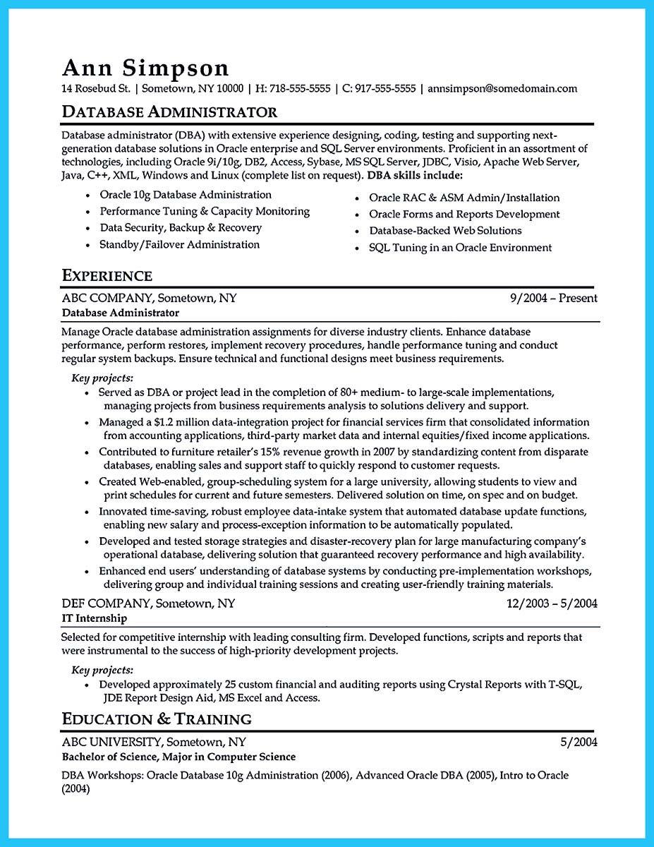 database administrator resume