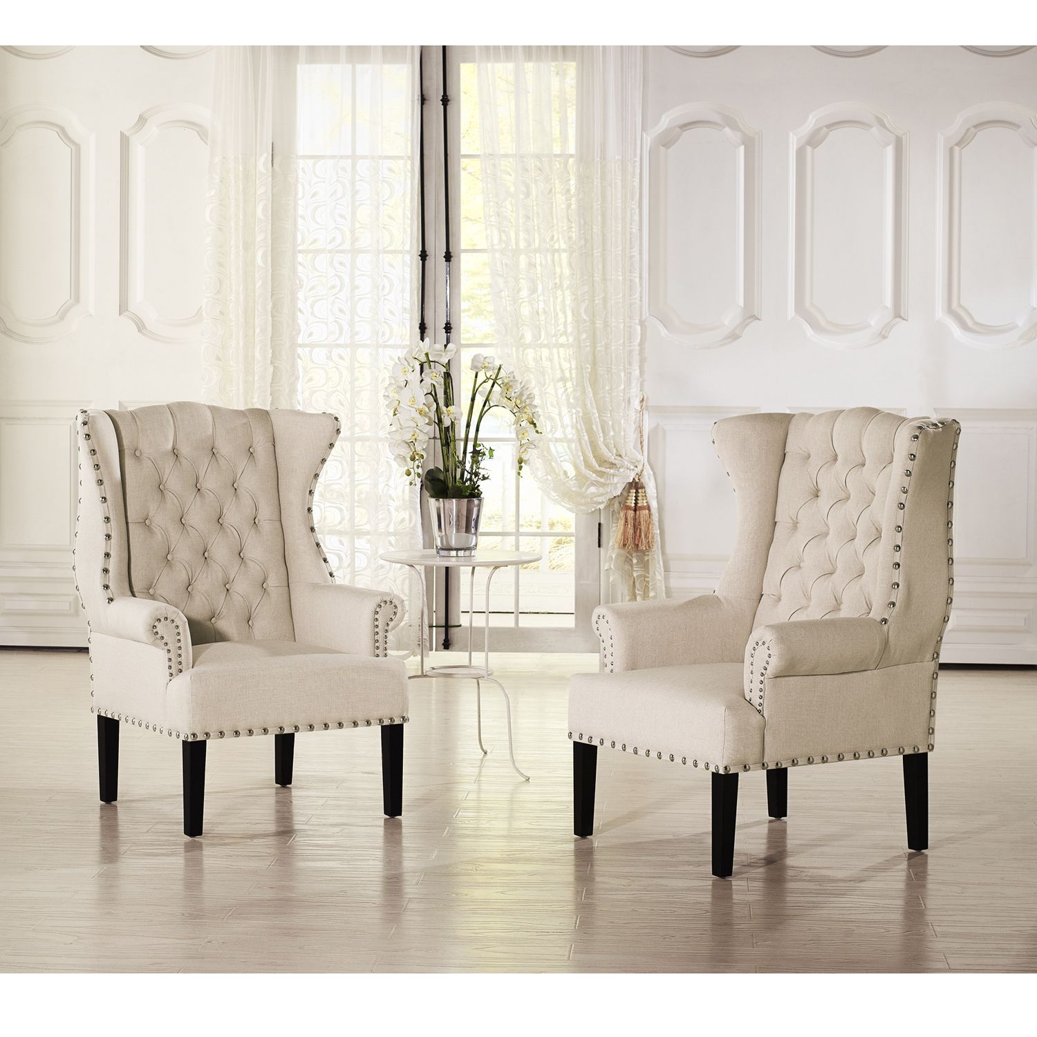 Baxton Studio Patterson Wingback Beige Linen And Burlap Nailhead