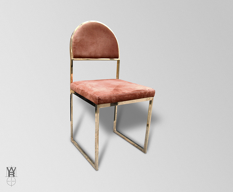 Oval chair with skin of Peccary.Structure in polished brass