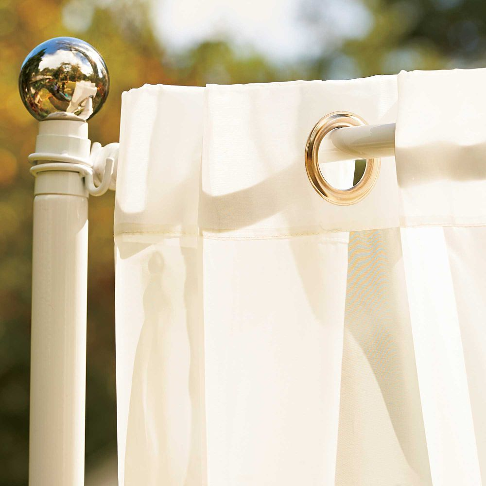 Our Freestanding Outdoor Curtain Rod With Posts Set Allows You To