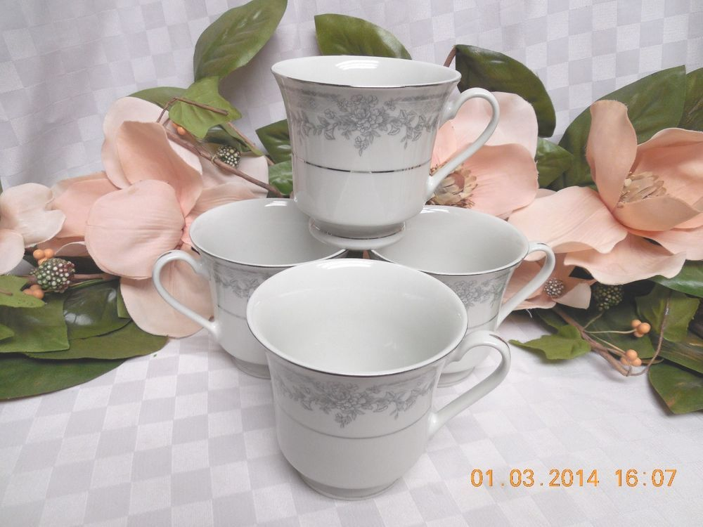 Lynn\u0027 China Dinnerware Olivia Gray and white flowers set 4 cups : lynns china dinnerware - pezcame.com