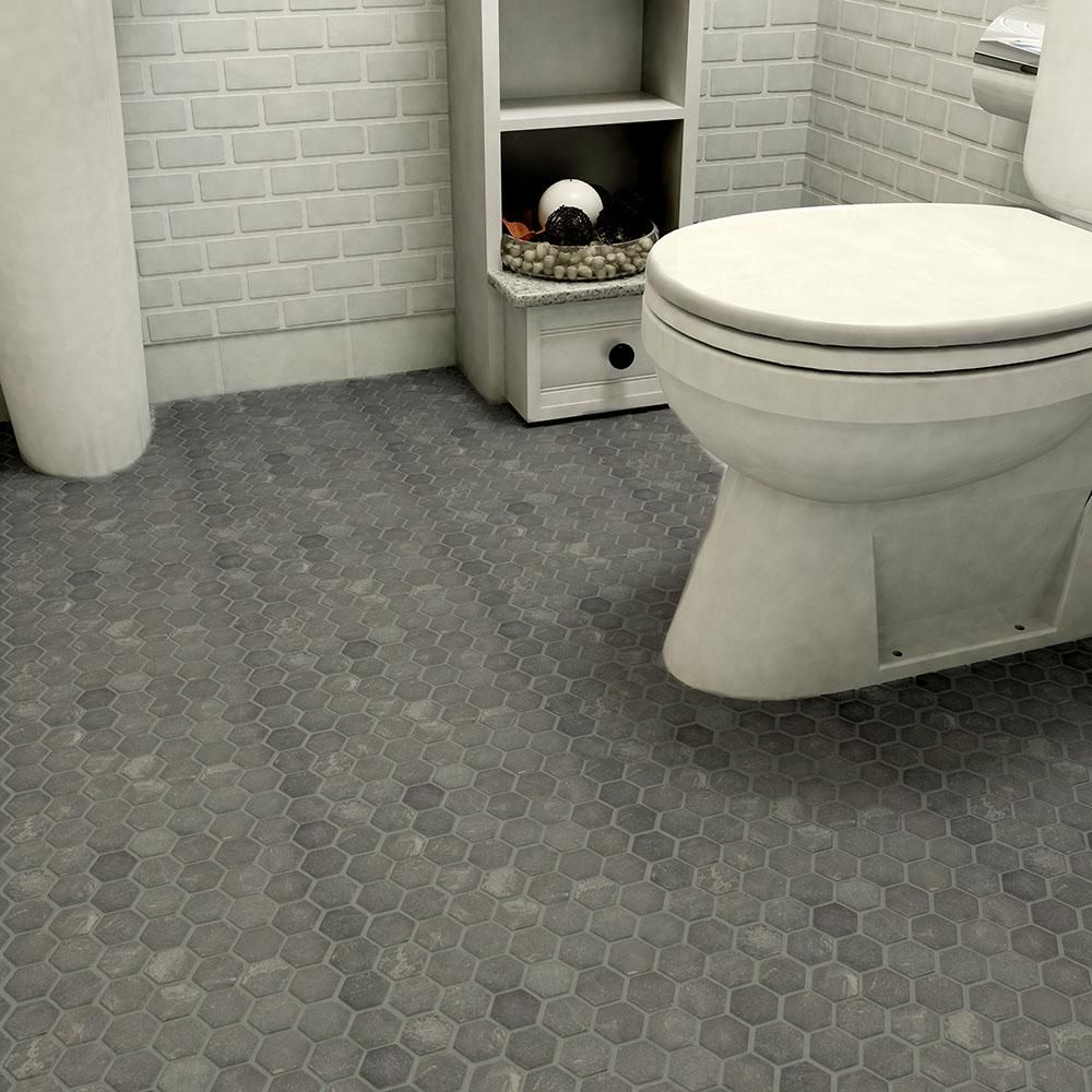 Merola Tile Crag Hexagon Black Slate Mosaic Tile 3 In X