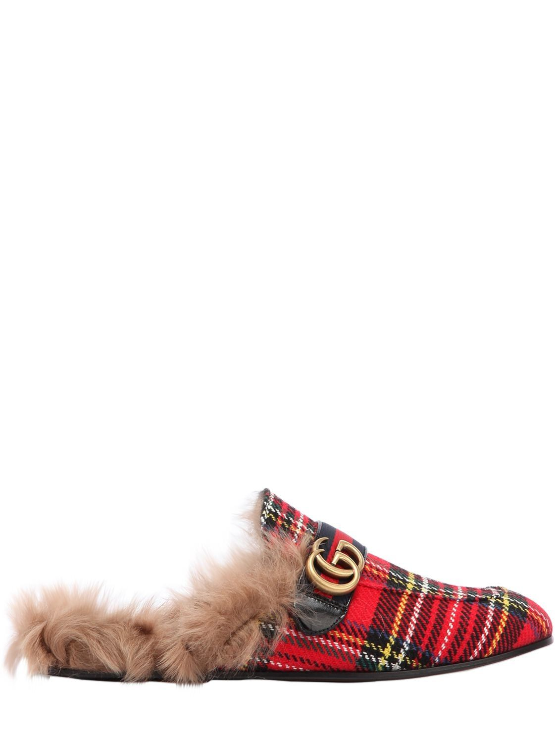 ca16c9abe3dd GUCCI NEW PRINCETOWN FUR LINED TARTAN SLIPPERS.  gucci  shoes ...