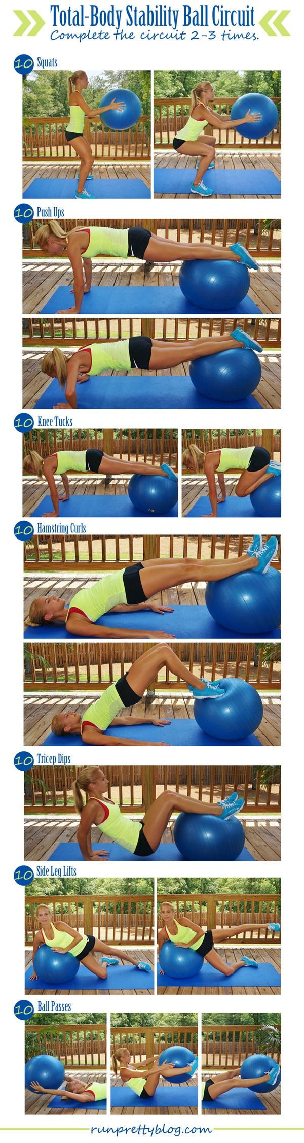Total Body Stability Ball Circuit Workout Via Run Pretty Health Full With Weights Workouts Pinterest