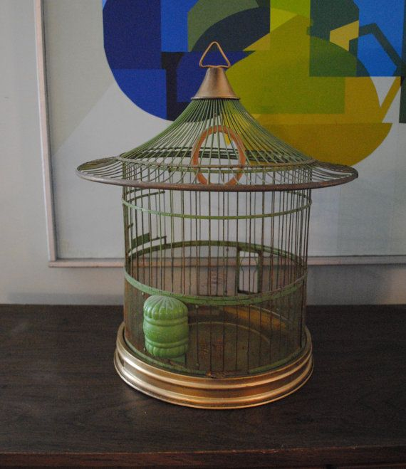 Vintage Round Pagoda Hendryx Bird Cage by StrangeBeauty on