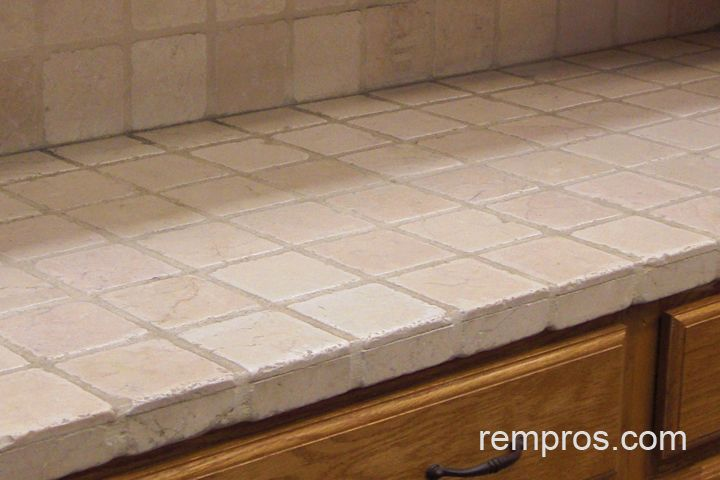 Tile Kitchen Countertops | 4x4 Travertine Tile Kitchen Countertop