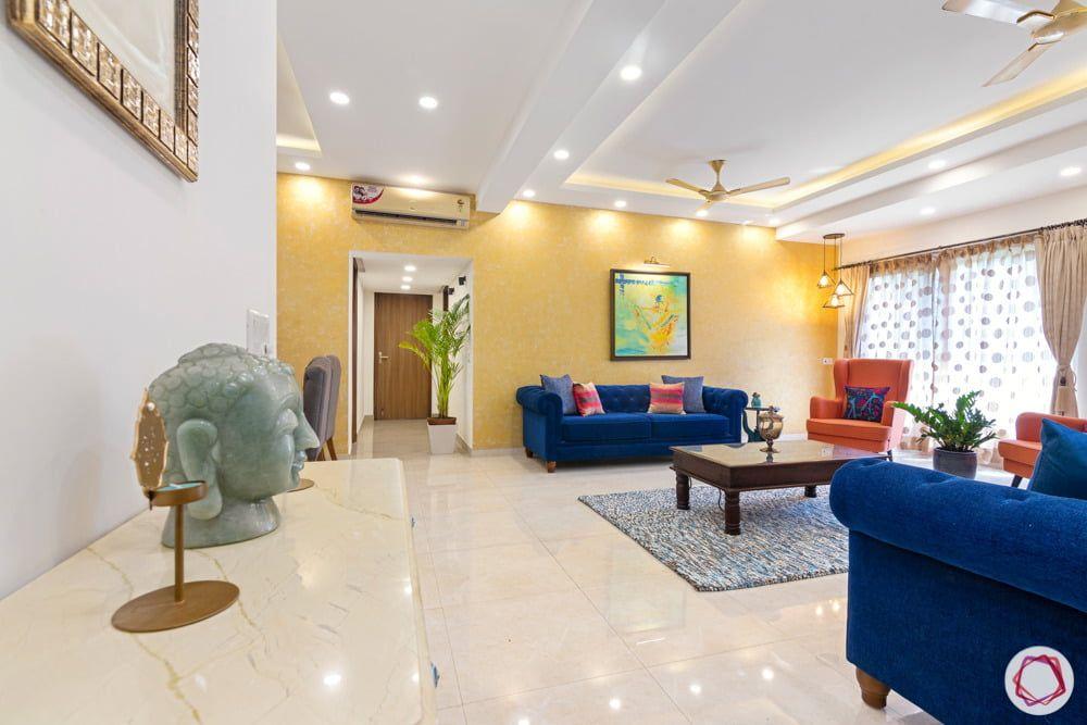 Modern Budgeted 3bhk At Jal Vayu Vihar Yellow Walls Home