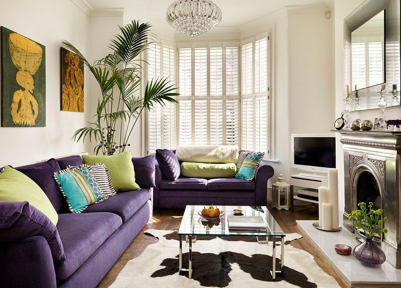 How To Match A Purple Sofa To Your Living Room Décor | Purple sofa ...