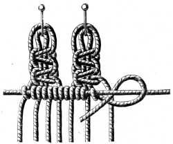 FIG. 522. & FIG. 523. KNOTTING ON THREADS WITH PICOT AND