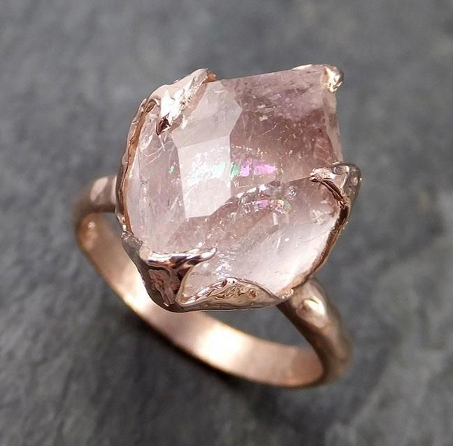 Morganite partially faceted 14k Rose gold solitaire Pink Gemstone Cocktail Ring Statement Ring gemstone Jewelry by Angeline 1005 #gemstonejewelry