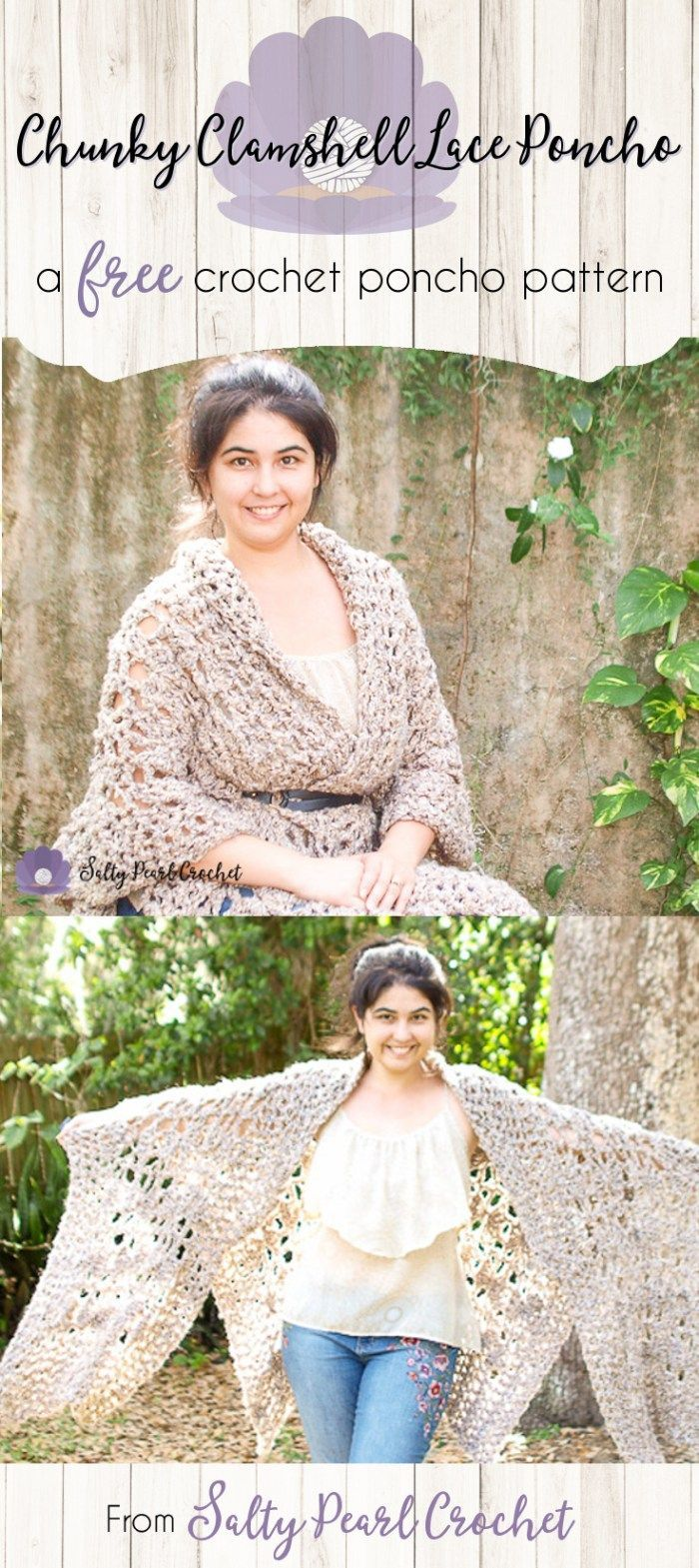 Wedding dress patterns free  Quick Crochet Poncho Free Pattern the Chunky Clamshell Lace Poncho