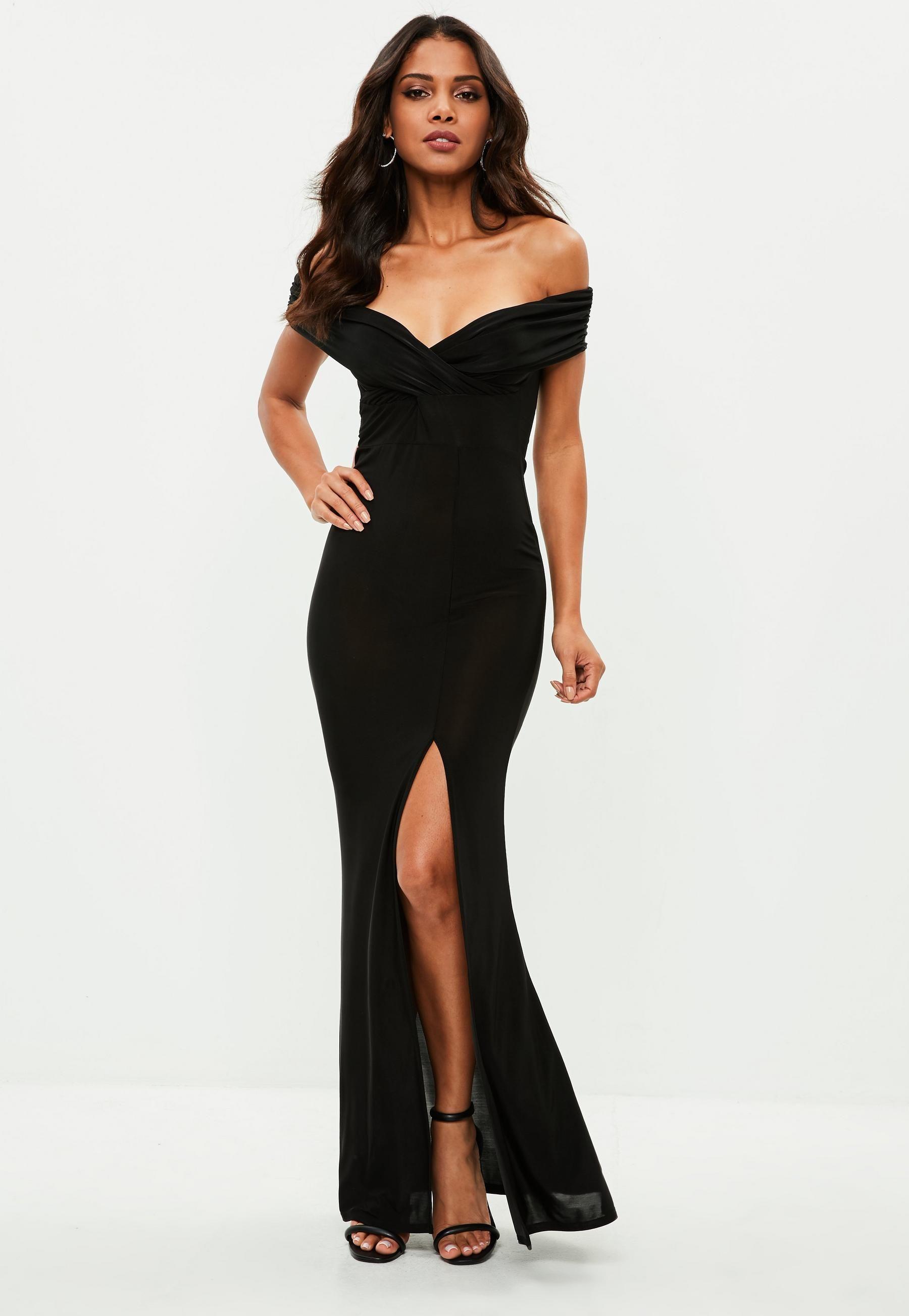 e221a34ff6ef1 Black Slinky Bardot Wrap Front Split Maxi Dress | Missguided | + tie ...