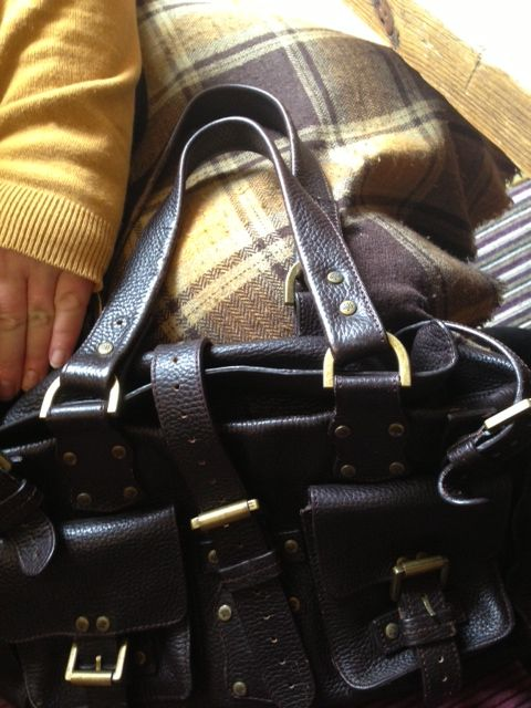Mulberry Roxanne, resurrected check wool midi skirt and ochre cardigan of ancient provenance!