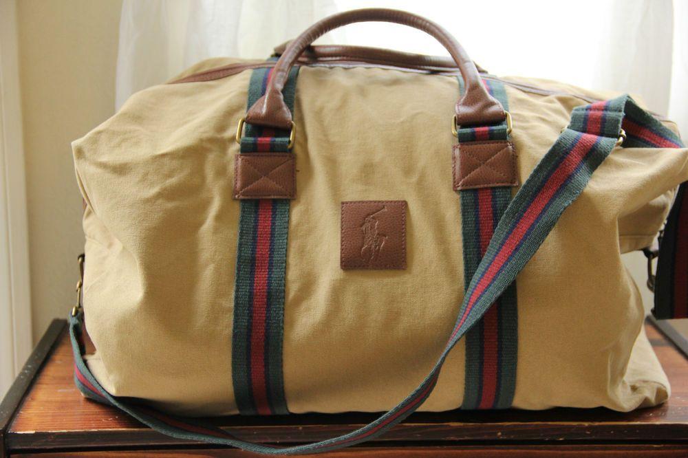 c77a40c741 Ralph Lauren Polo RL VintageTravel Weekender Overnight Gym Duffle Bag Beige   RalphLauren  DuffleGymBag