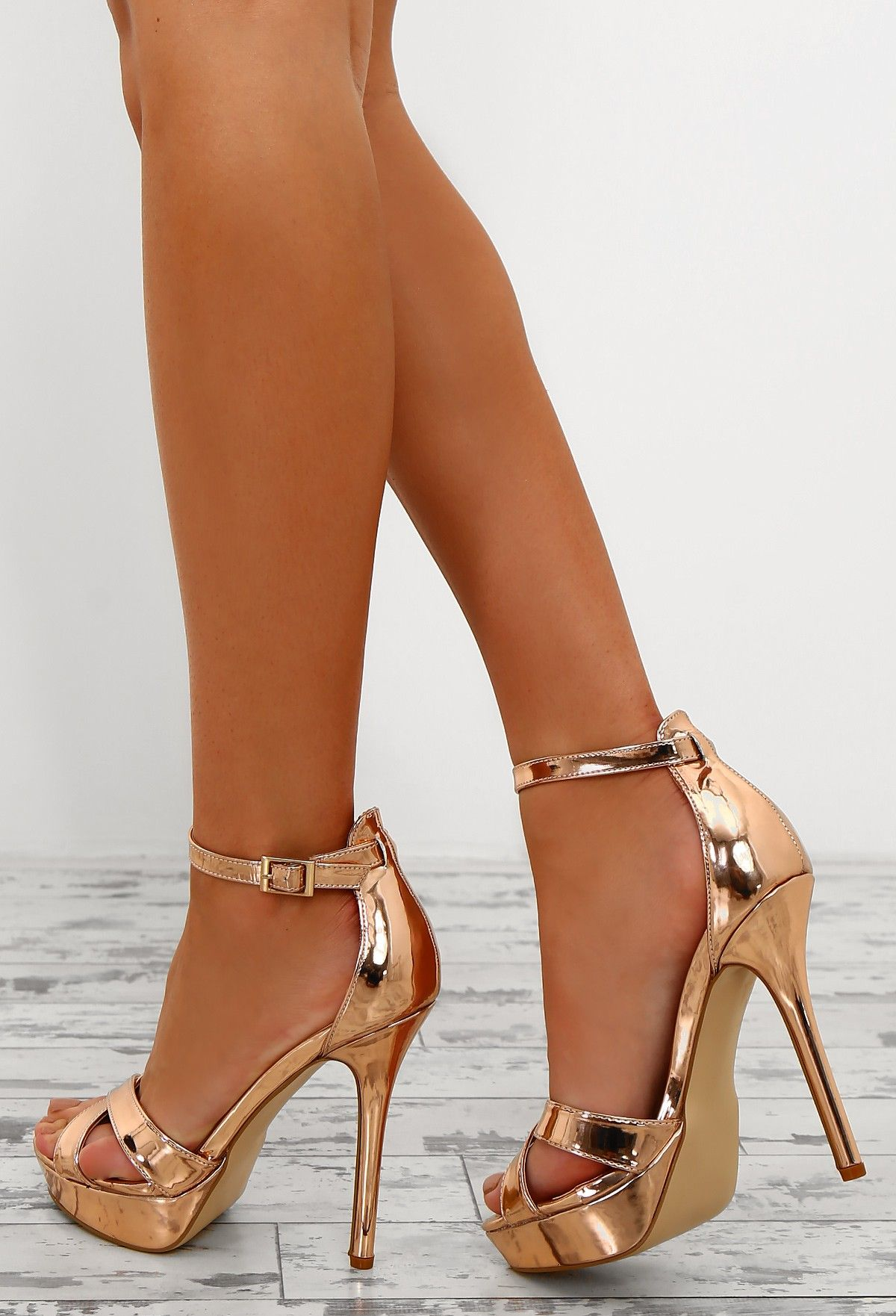 Pink Boutique - Celeb Inspired Fashion & Dresses. Game of Chromes Rose Gold Peep  Toe Platform Heels