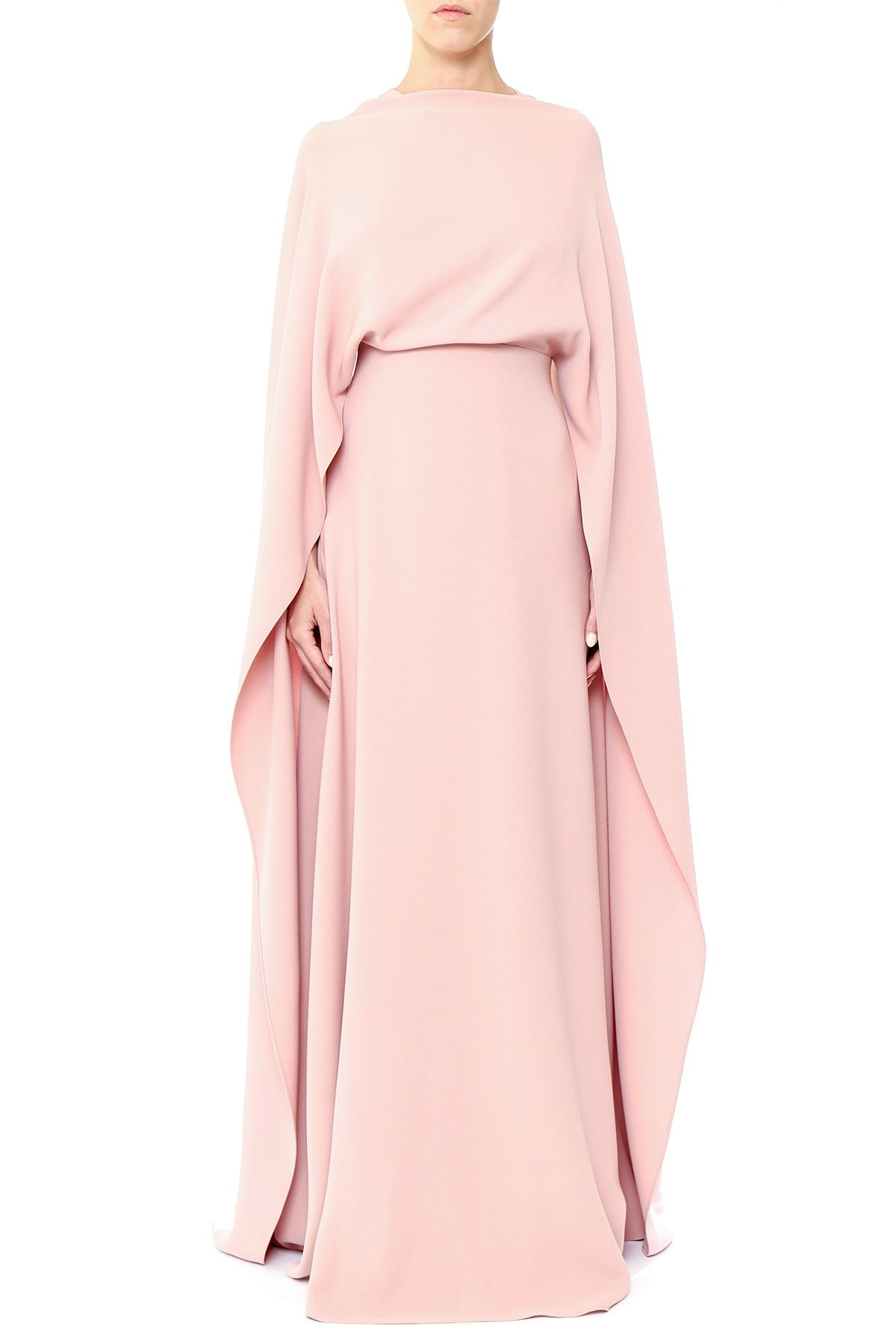 59825f457c2 VALENTINO Long dress realized in pure silk with very long cape sleeves. The  model presents round-neck and fully uncovered back enriched by thin straps  and a ...