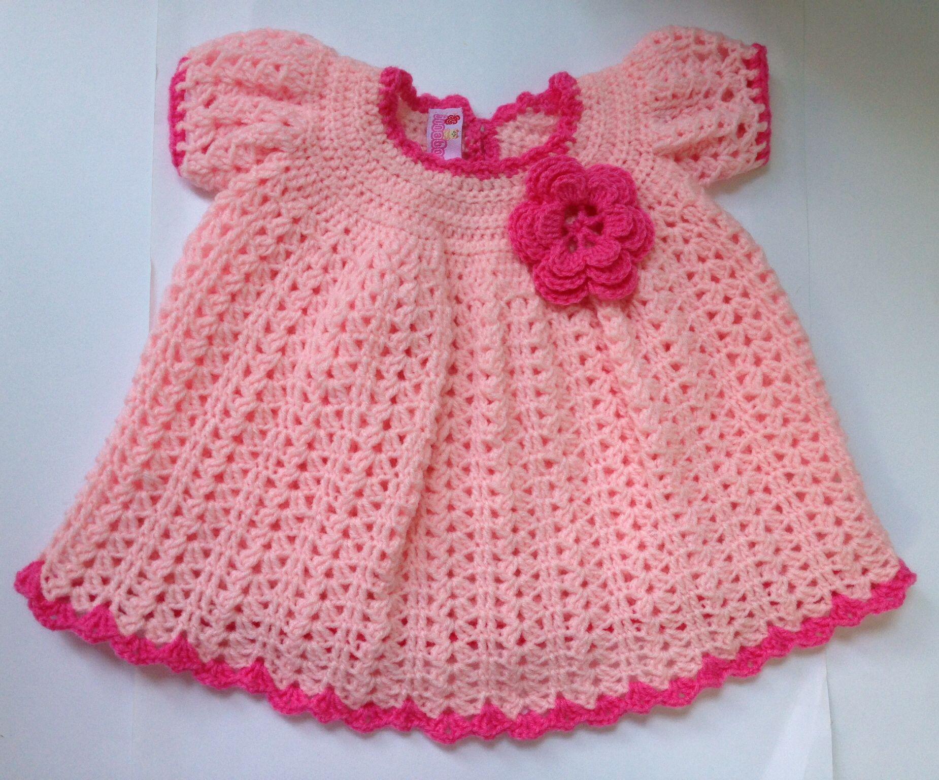 Crochet baby pink dress | crochet | Pinterest | Suéteres para bebé ...