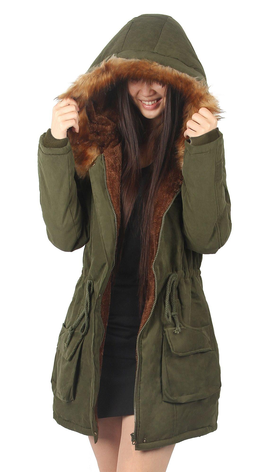 Ilovesia Winter Fur Lined Coats For Women Parka Jacket Green Size 8 Walmart Com Stylish Winter Coats Parka Jacket Women Womens Hooded Coat [ 1999 x 1125 Pixel ]