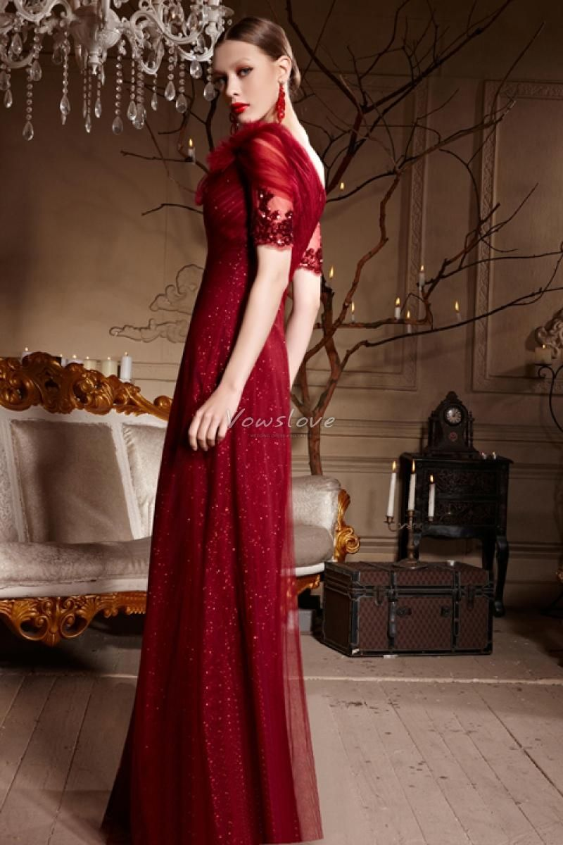 Burgundy long prom dress with dazzling sequins vowslove formal