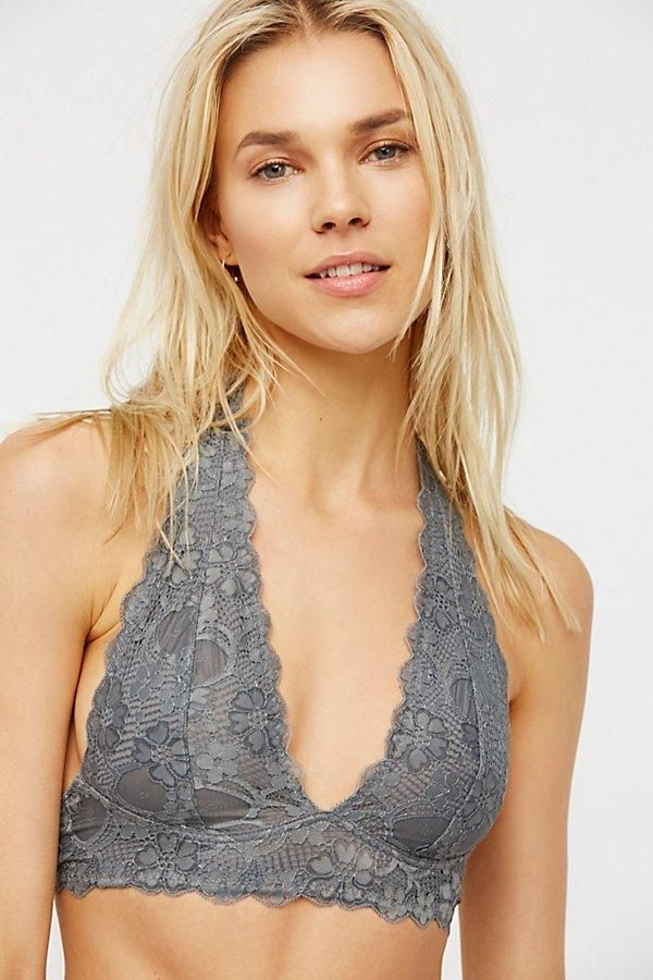 24867559aca1c4 Intimately Graphite Galloon Lace Halter Bra at Free People Clothing  Boutique. Halter Bralette
