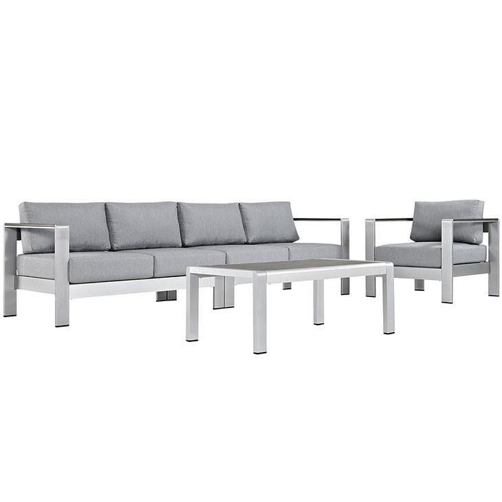 Shore 4 Piece Outdoor Patio Aluminum Sectional Sofa Set With