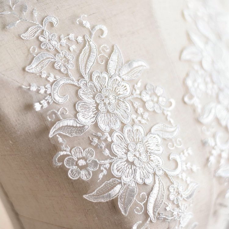 Mirror Pair Corded Embroidery Floral Applique Sewing Patch for Wedding Dress