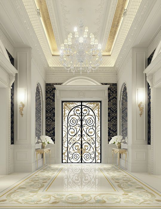 Luxury interior design for an entrance lobby by ions for Classic villa interior design