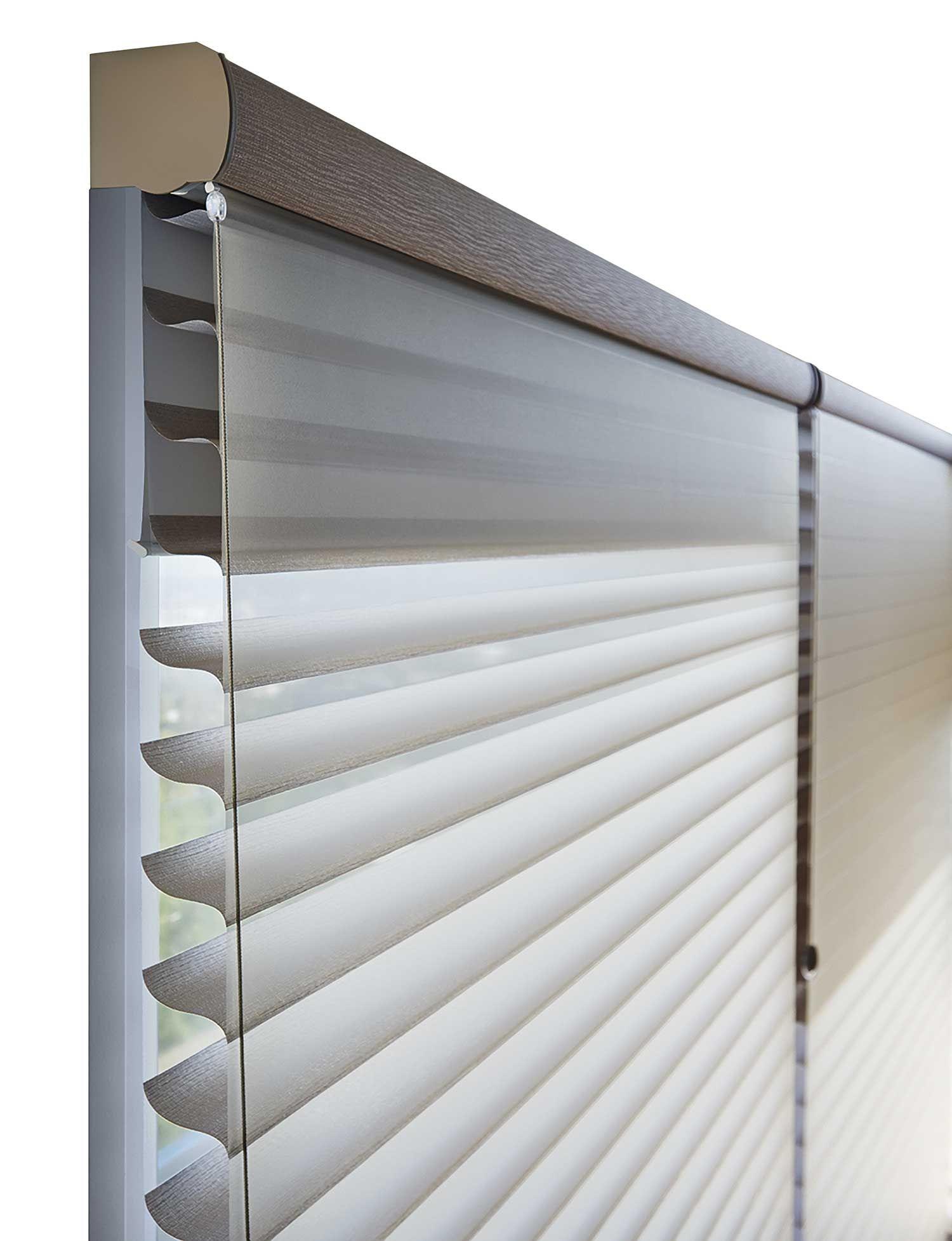 Silhouette Duolite With A Room Darkening Roller Shade Behind It Window Curtain Designs Curtains Room Darkening Roller Shade