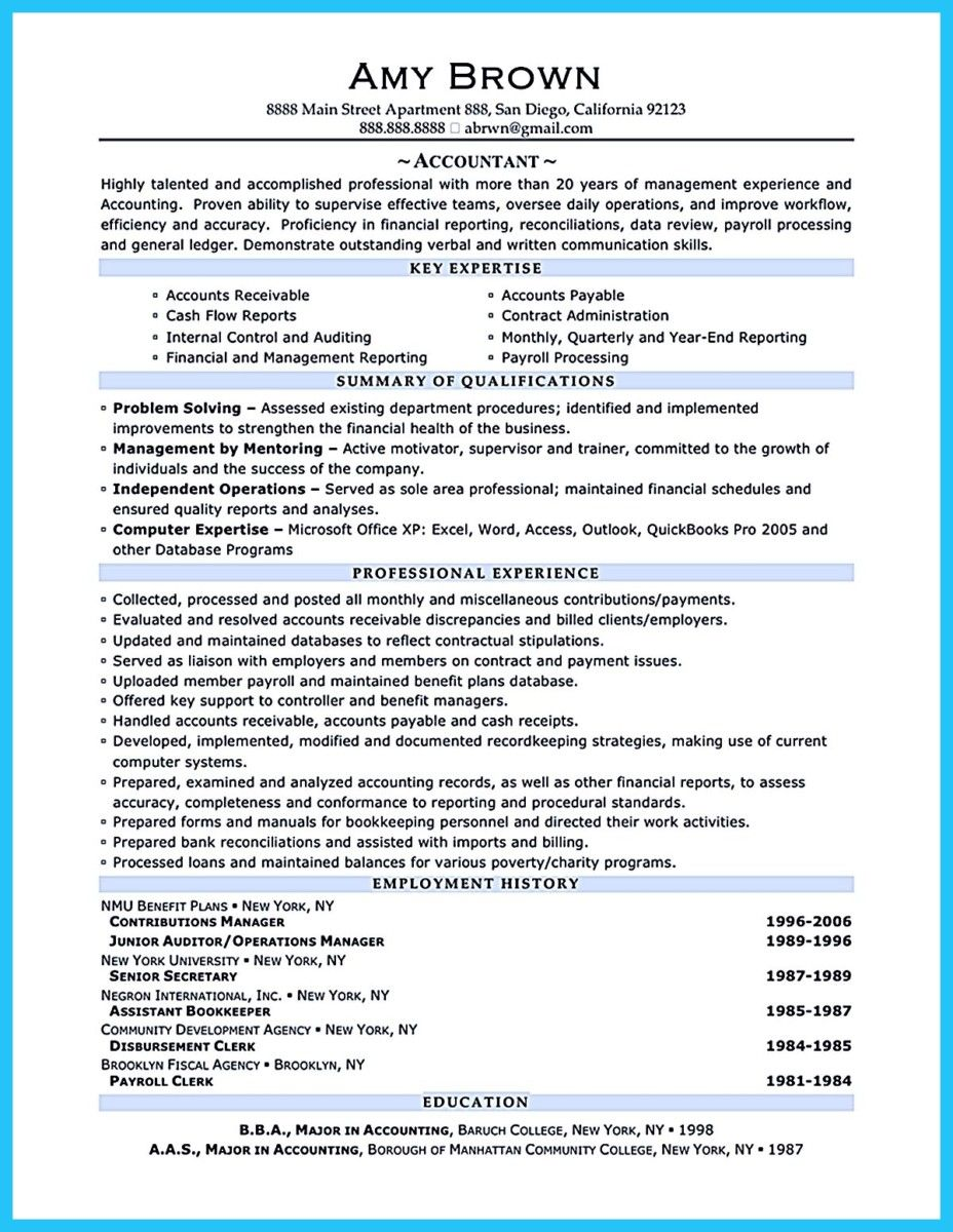 awesome Sample for Writing an Accounting Resume, | resume template ...