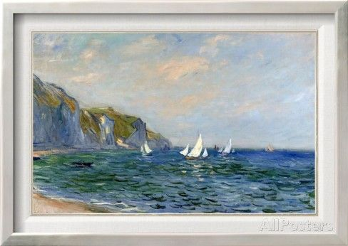 Cliffs and Sailboats at Pourville Framed Canvas Print by Claude Monet at AllPosters.com