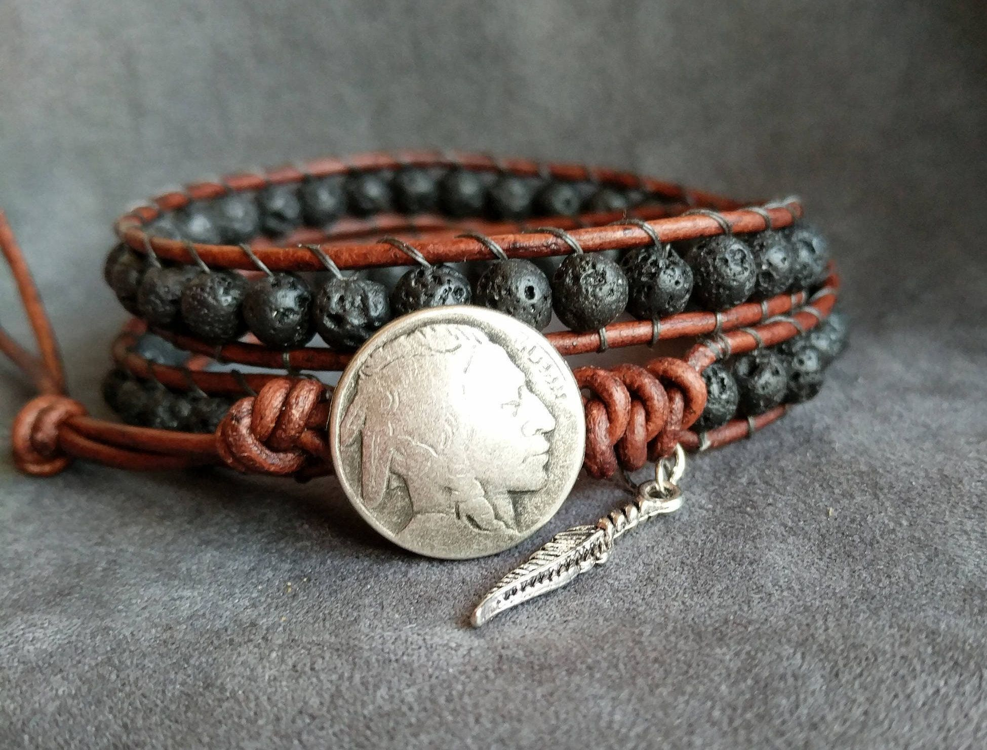 Mens Lava Bracelet Native American Indian Bracelet Lava Bead