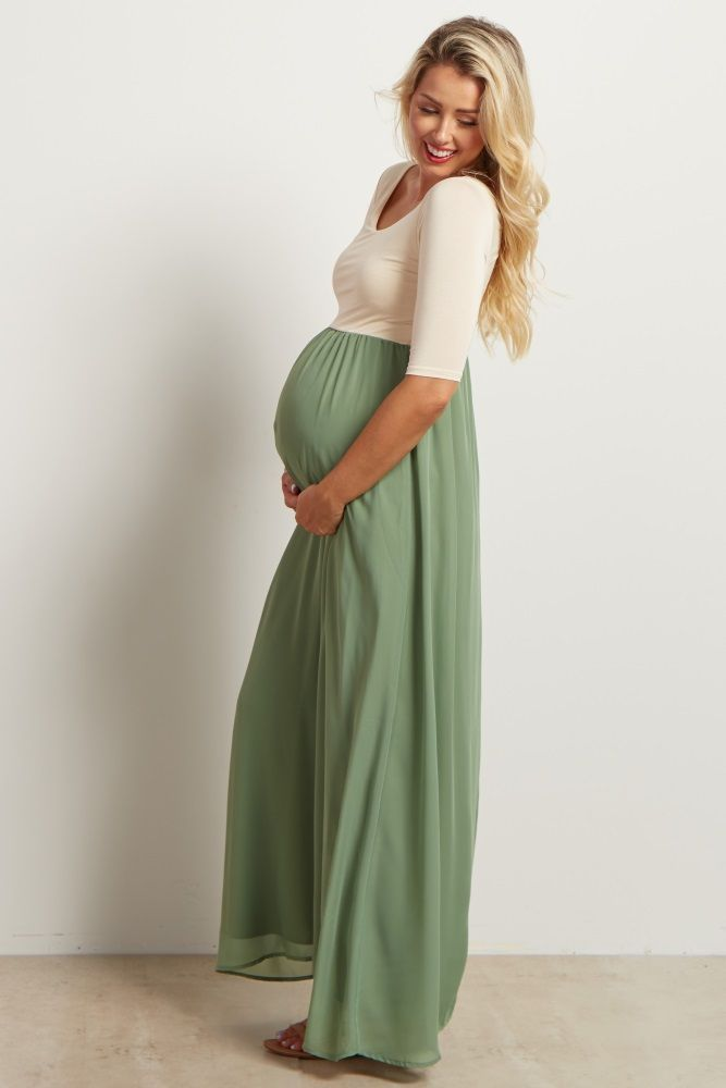 Sage Chiffon Colorblock Maternity Maxi Dress - $65   Baby ...