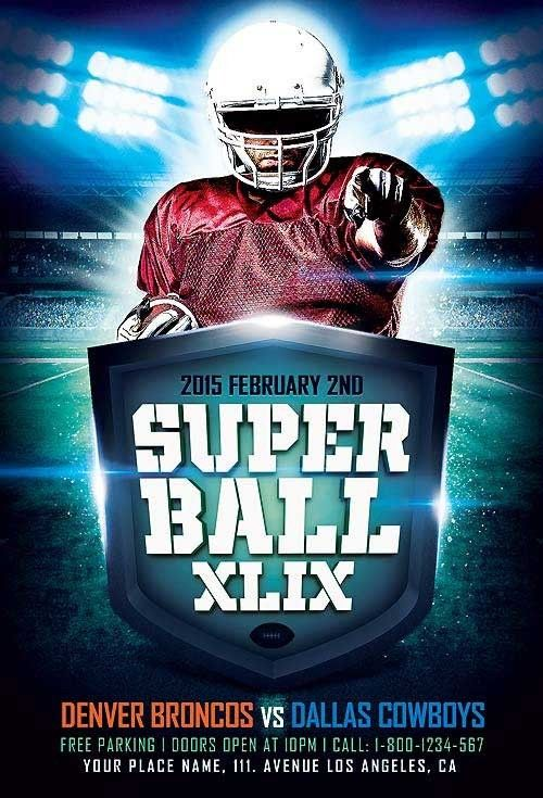 Featured Flyer Super Ball Game XLIX Flyer Template -   - football flyer template