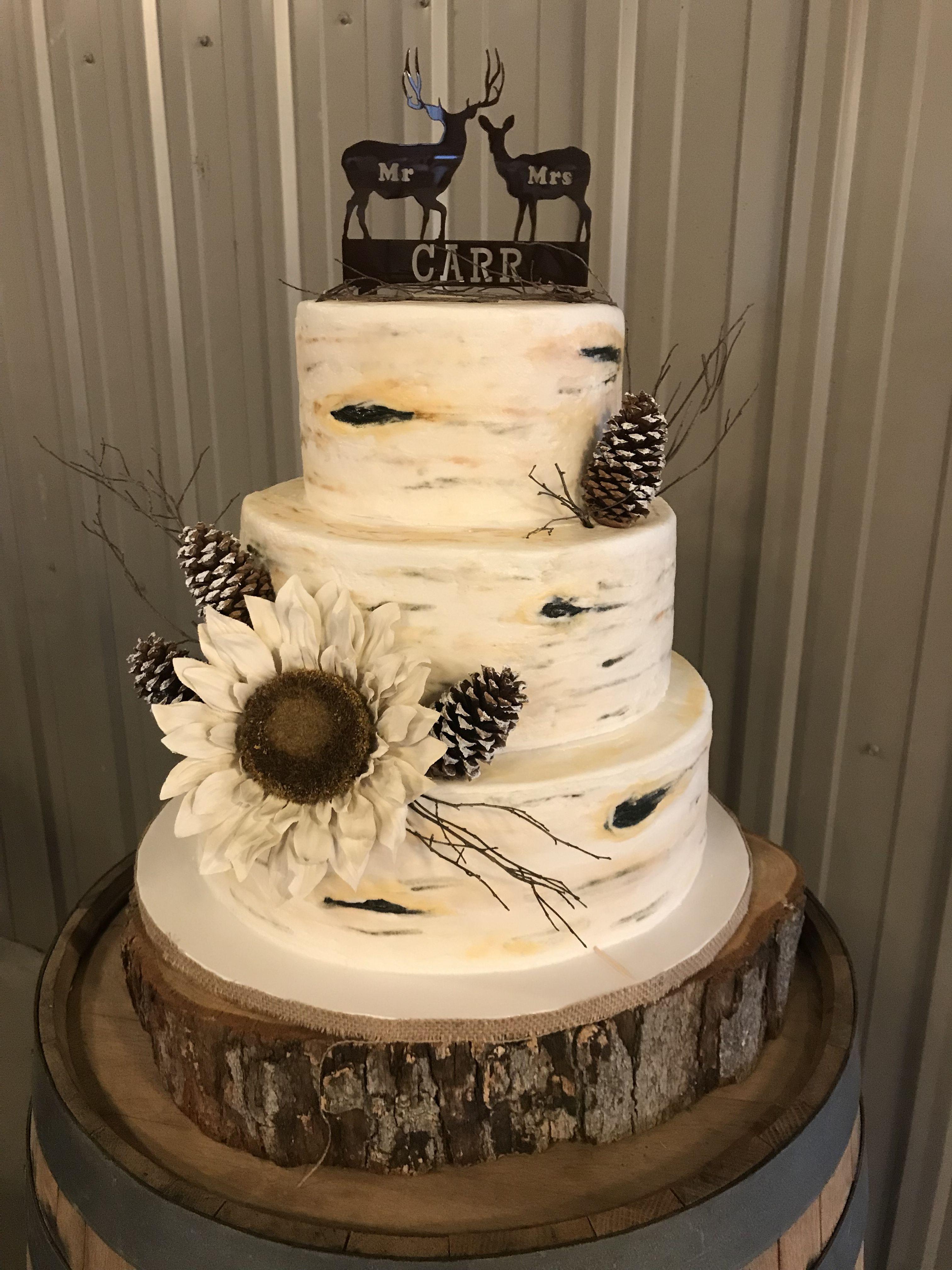 Buttercream Birch Tree Wedding Cake Made By A Teresa Lynn Cakes Llc