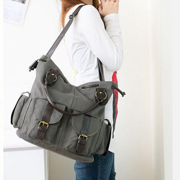 Women Multi-pocket Canvas Handbags Casual Crossboody Bag Leisure Shopping  Shoulder Bags is designer aed1547d75dc0