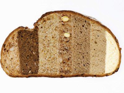 pain réalisé à l'aide de différentes farines