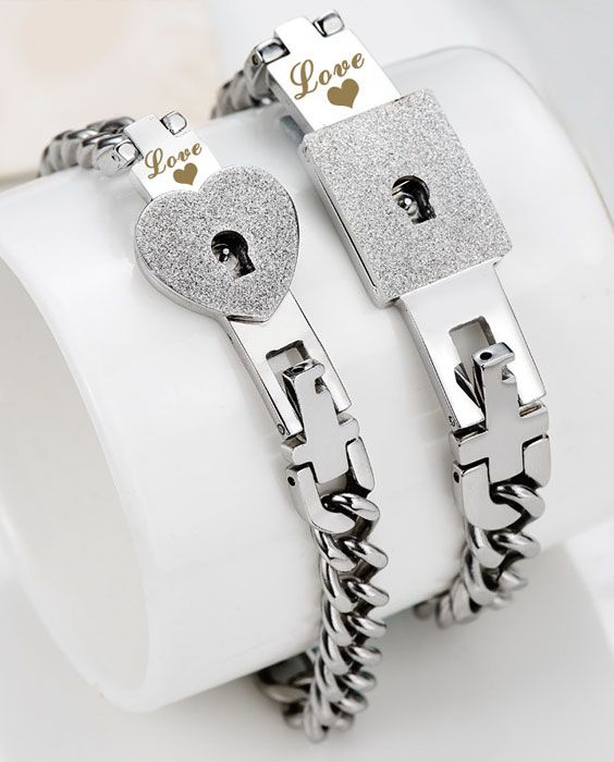 6f972c731f Lock and Key Matching Couple Bracelets Set for Women and Men @  iDream-Jewelry.Com