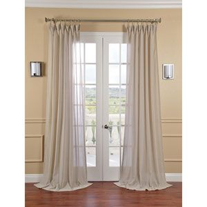 Half Price Drapes Gardenia Faux Linen Sheer Single Panel Curtain