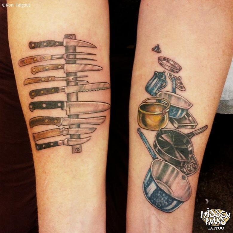 Colorful Tattoo Of Knives And Pots Pans | Food tattoo | Blæk og Tatoveringer