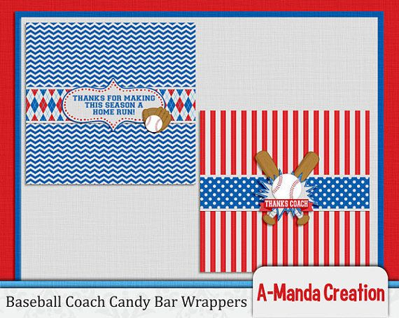 Baseball Coach printable thank you candy bar wrappers. Wrap up a few hershey bars and hand it out to your coaches to thank them for a great season!