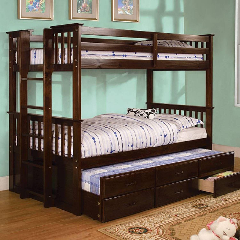 University II Twin XL/Queen Bunk Bed Dark Walnut CMBK458Q