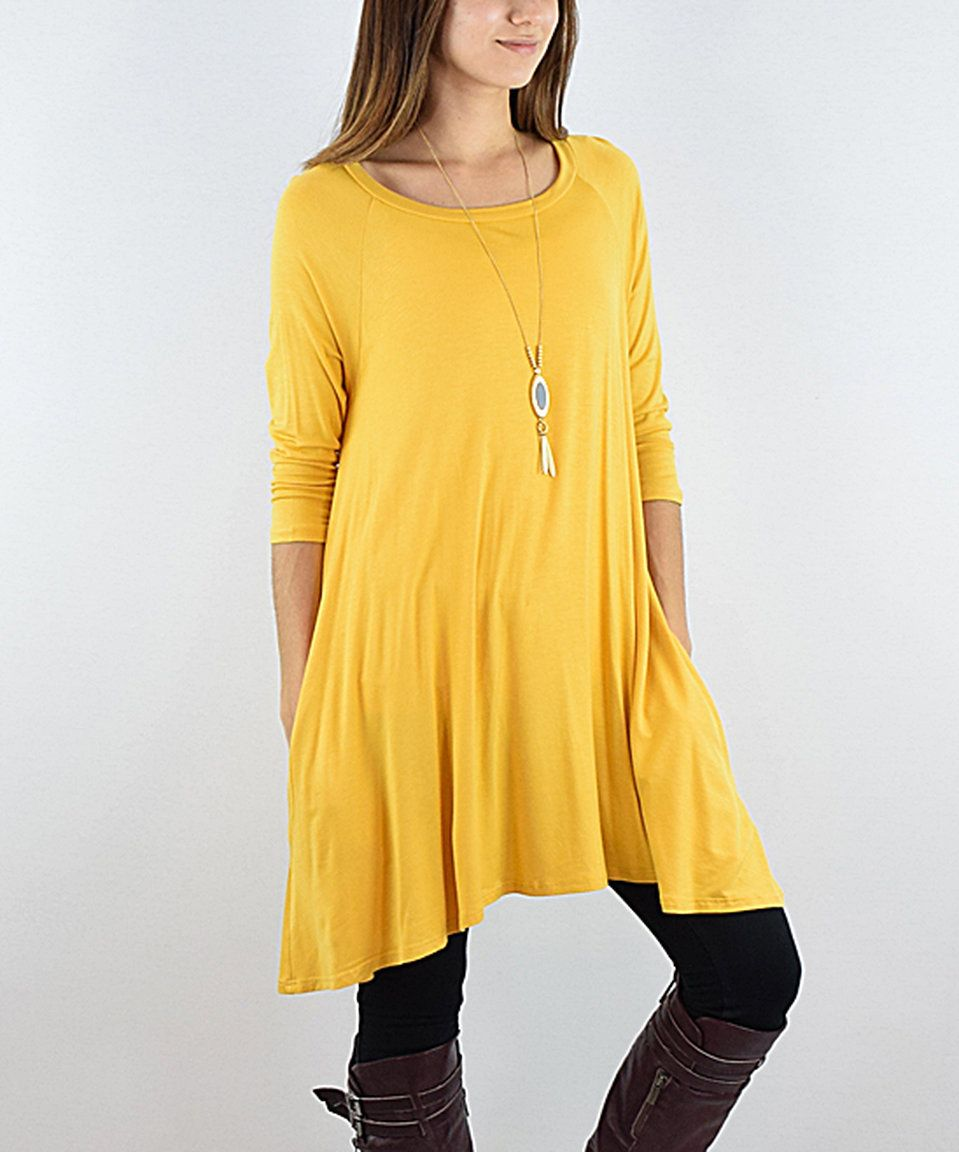 Take a look at this éloges Mustard Three-Quarter Sleeve Pocket Tunic today!