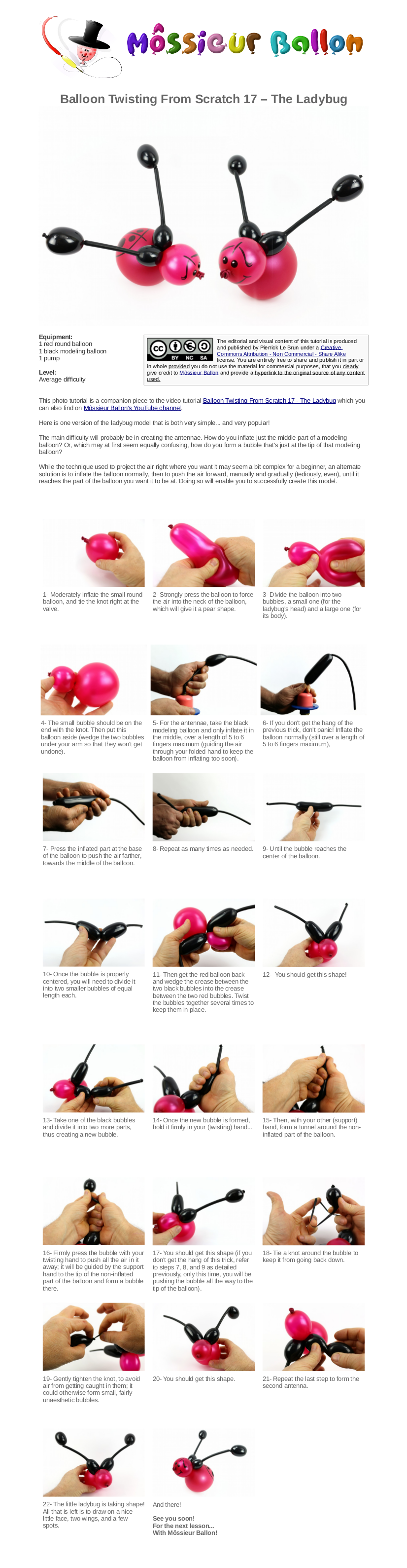 Pdf Guide Balloon Twisting From Scratch 17 The Ladybug Balloons