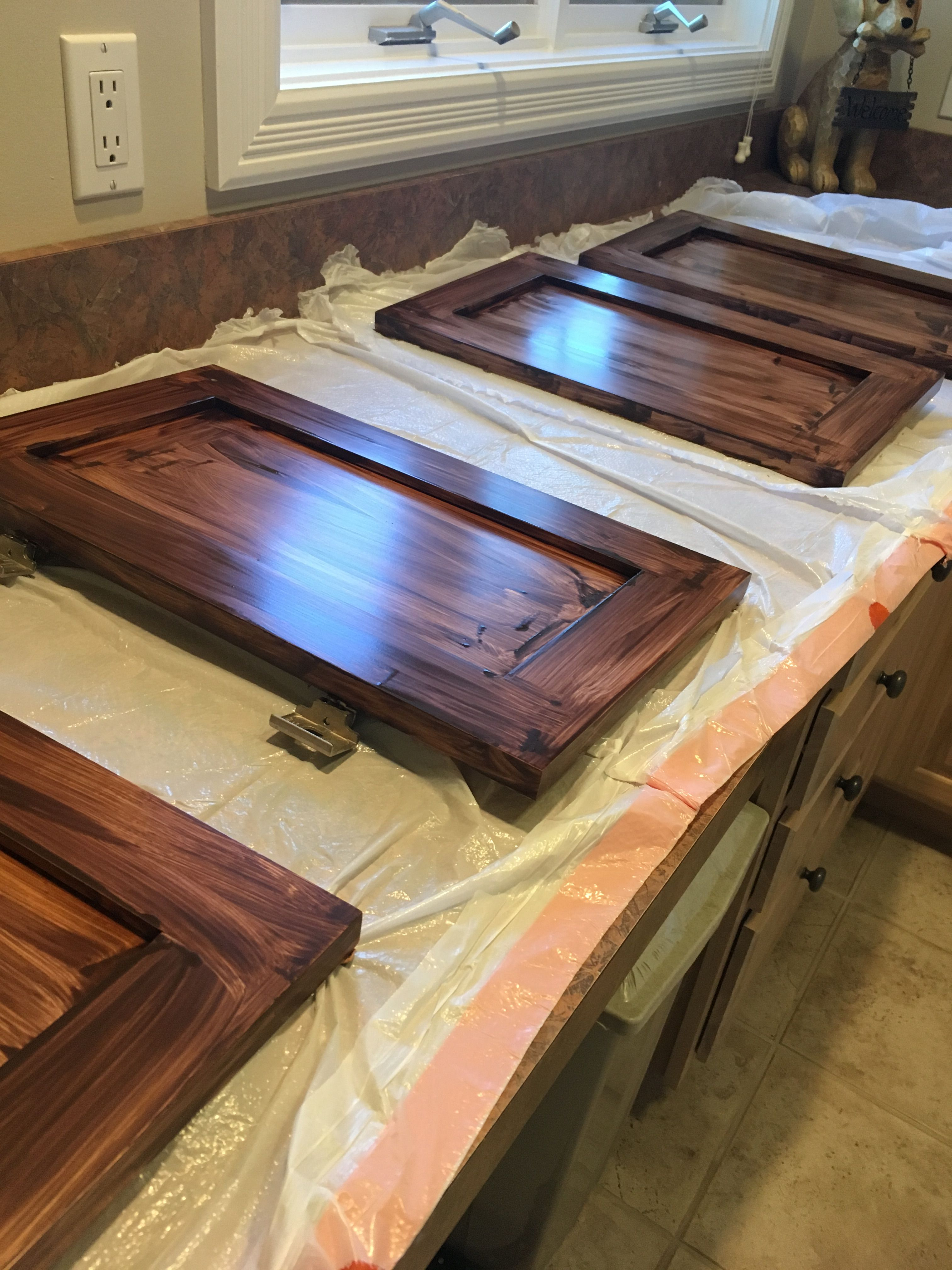 Staining bathroom cabinets with general finishes walnut for Gel stain