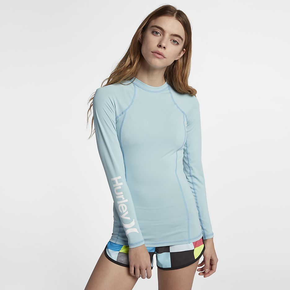 White Hurley Women/'s One and Only Surf Shirt Rash Guard