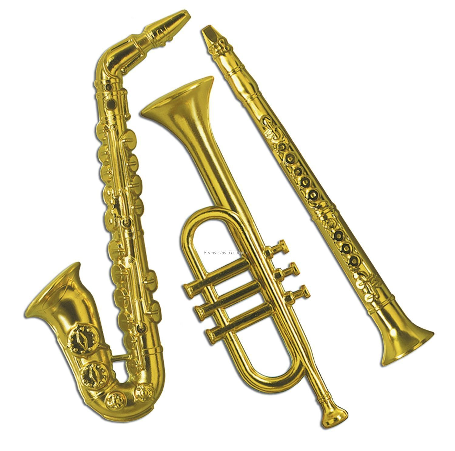 Musical instruments ornaments - 17 21 Gold Plastic Musical Instruments