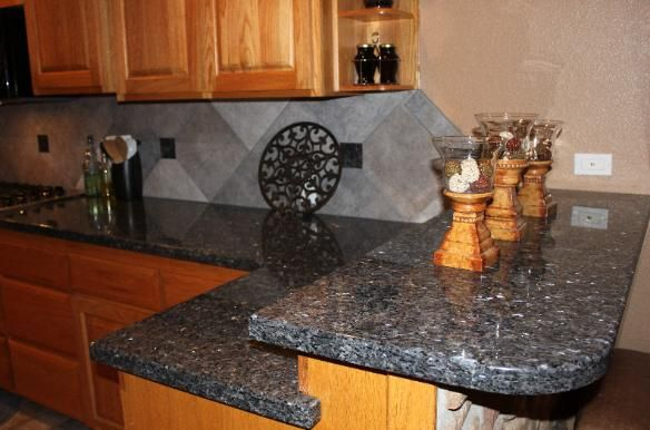 Backsplash ideas for blue pearl granite american for Blue countertops kitchen ideas