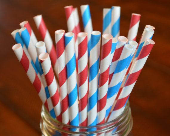 Red AND Blue Stripe Paper Straws Party by GeminiCelebrations, $4.50