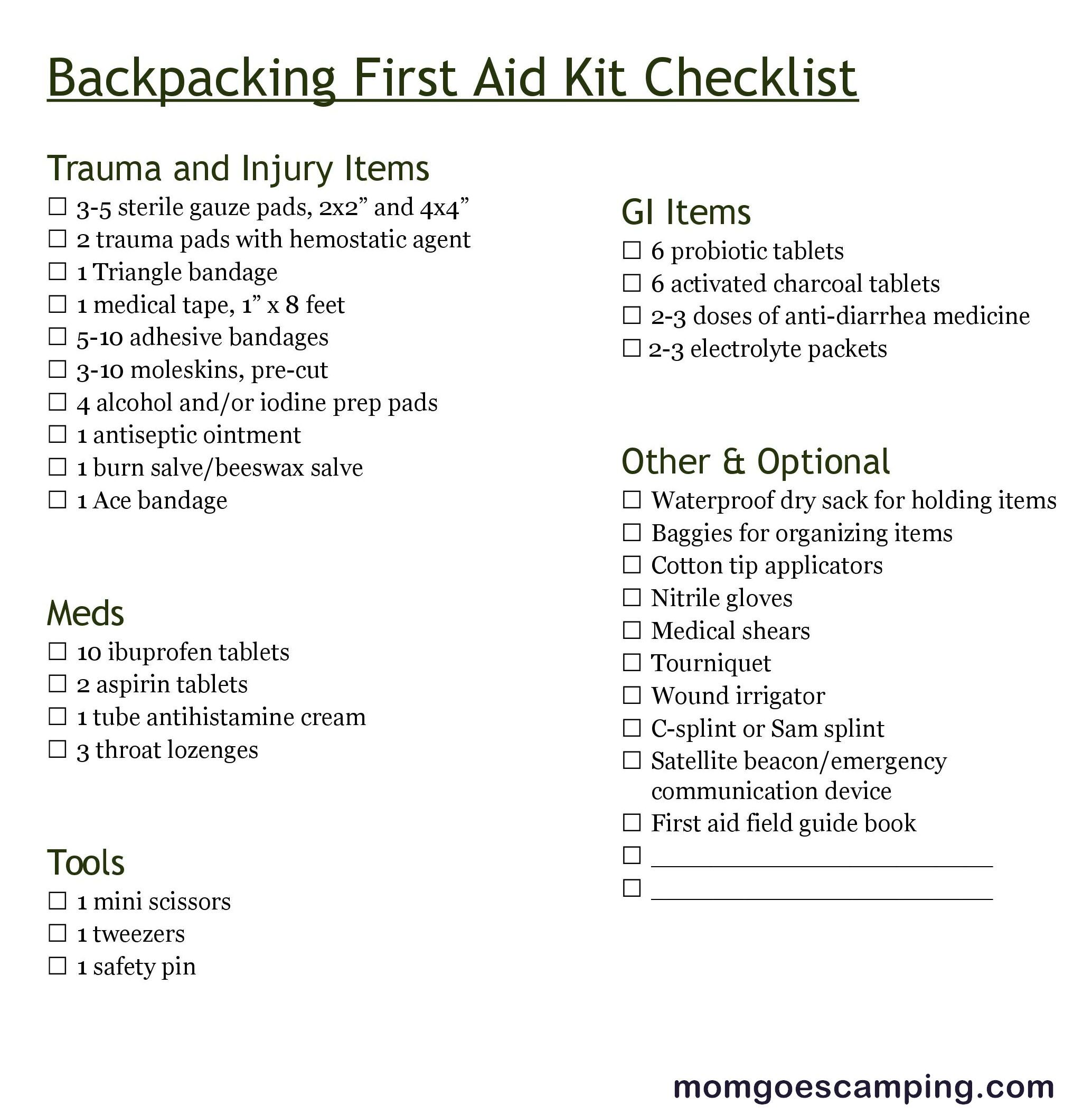 Printable Backpacking First Aid Kit Checklist In
