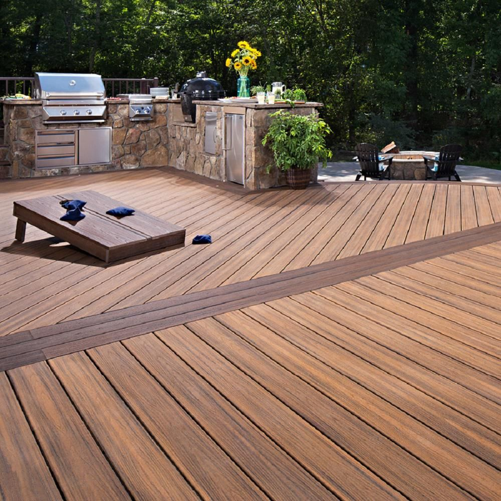 Trex Transcend 1 In X 5 5 In X 1 Ft Havana Gold Composite Decking Board Sample Hgt90000 T In 2020 Deck Designs Backyard Trex Deck Designs Composite Decking Boards